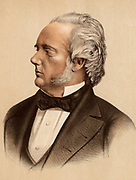 George Douglas Campbell, 8th Duke of Argyll (1823-1900) Marquis of Lorne (1837-1847), succeeded to the Dukedom in 1847. British Whig (Liberal) politician and scientist. Supported cataclysmic school of geology rather than uniformitarianism.  Tinted lithograph.
