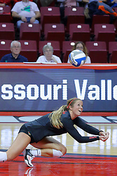 23 November 2017:  Courtney Pence dives for a dig and save during a college women's volleyball match between the Valparaiso Crusaders and the Illinois State Redbirds in the Missouri Valley Conference Tournament at Redbird Arena in Normal IL (Photo by Alan Look)