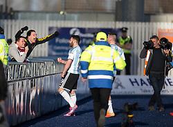 Hearts James Keatings cele scoring their third goal.<br /> Falkirk 0 v 3 Hearts, Scottish Championship game played 21/3/2015 at The Falkirk Stadium.