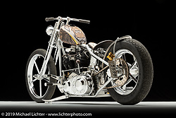"""""""Zeus"""", a leather tank ridged, built from a 93"""" S&S Knucklehead, by Kevin """"Teach"""" Baas in Prior Lake, MN. Photographed by Michael Lichter in Sturgis, SD on 7/29/18. ©2018 Michael Lichter."""