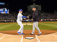 CHICAGO, IL - OCTOBER 28: Managers Joe Maddon #70 of the Chicago Cubs and Terry Francona #17 of the Cleveland Indians shake hands during player introductions prior to Game 3 of the 2016 World Series at Wrigley Field on Friday, October 28, 2016 in Chicago, Illinois. (Photo by Ron Vesely/MLB Photos via Getty Images)