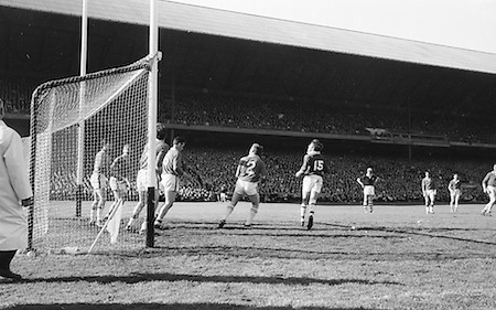 Players in Meath goalmouth during the All Ireland Senior Gaelic Football Final Cork v. Meath in Croke Park on the 24th September 1967. Meath 1-9 Cork 0-9.