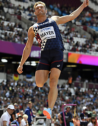 August 11, 2017 - Londres, Angleterre - LONDON , UNITED KINGDOM  - AUGUST 11 : Kevin Mayer of France '' Decathlon''  pictured during long jump at the16th IAAF World Athletics championships from august 4 till 13, 2017 in London ,United Kingdom, 11/08/2017 (Credit Image: © Panoramic via ZUMA Press)