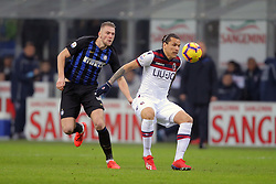 February 3, 2019 - Milan, Milan, Italy - Federico Santander #9 of Bologna FC competes for the ball with Milan Skriniar #37 of FC Internazionale Milano during the serie A match between FC Internazionale and Bologna FC at Stadio Giuseppe Meazza on February 3, 2019 in Milan, Italy. (Credit Image: © Giuseppe Cottini/NurPhoto via ZUMA Press)