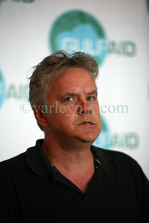 16 May 2010. New Orleans, Louisiana. <br /> Gulf Aid - a benefit festival for Louisiana fishermen and our coast.<br /> Tim Robbins, movie star and environmental activist gives a press conference. Local musicians have gathered together in response to BP's massive oil spill in the Gulf of Mexico, threatening the very fabric of an entire region. All proceeds from the event will be used to support local fishing communities and the region.<br /> Photo credit; Charlie Varley/varleypix.com