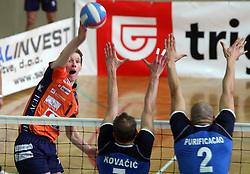 Tine Urnaut of ACH Volley  vs Andrej Kovacic and Roberto Carlos Brito da Purificacao at 4th and final match of Slovenian Voleyball  Championship  between OK Salonit Anhovo (Kanal) and ACH Volley (from Bled), on April 23, 2008, in Kanal, Slovenia. The match was won by ACH Volley (3:1) and it became Slovenian Championship Winner. (Photo by Vid Ponikvar / Sportal Images)/ Sportida)