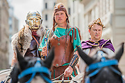 The Emporer arrives on his charriot - Gladiators gather on the site of London's only performers that worked on Ridley Scott's Gladiator film will clash on the spot where gladiators battled 2,000 years ago in the courtyard of the Guildhall. Ten public evening and matinee performances will take place on selected dates between 8 and 16 August. Full information and tickets at www.museumoflondon.org.uk<br /> <br /> <br /> Hidden for centuries, the ancient remains of London's Roman amphitheatre were discovered by archaeologists in 1988. They are open for viewing all year. The Gladiator Games are performed by Britannia, renowned for its work on the Ridley Scott film, Gladiator. Each performance is the result of research into events in the 1st century A.D., using images drawn from Roman coins, paintings, sculpture and mosaics.