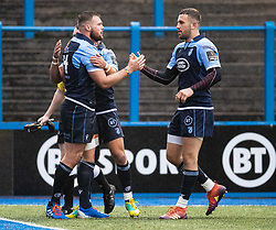 Owen Lane celebrates scoring his sides first try<br /> <br /> Photographer Simon King/Replay Images<br /> <br /> Guinness PRO14 Round 2 - Cardiff Blues v Edinburgh - Saturday 5th October 2019 -Cardiff Arms Park - Cardiff<br /> <br /> World Copyright © Replay Images . All rights reserved. info@replayimages.co.uk - http://replayimages.co.uk