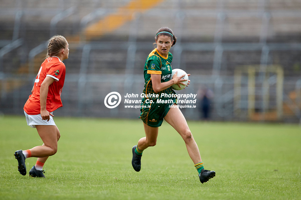 01-08-21, All Ireland Ladies SFC quarterfinal at Clones<br /> Meath v Armagh<br /> Niamh O`Sullivan (Meath) and Grace Ferguson (Armagh)<br /> Photo: David Mullen / www.quirke.ie ©John Quirke Photography, Proudstown Road Navan. Co. Meath. 046-9079044 / 087-2579454.<br /> ISO: 400; Shutter: 1/1250; Aperture: 4.5;