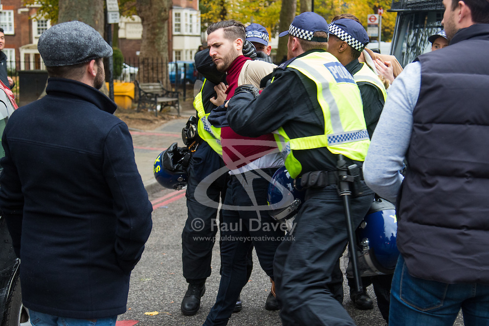 London, November 6th 2016. Police arrest a man following a scuffle after the North London Derby between Arsenal FC and Tottenham Hotspur, that ended in a 1-1 draw.