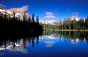 Mount Odaray and Cathedral Peak from Lake O'Hara, Yoho National Park, British Columbia, Canada