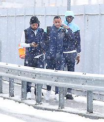 Nikolas Otamendi, Danilo and Yaya Toure and The Manchester City team are seen at Manchester Piccadilly Train Station on Thursday morning as they make their trip to London to face Arsenal in the premier league