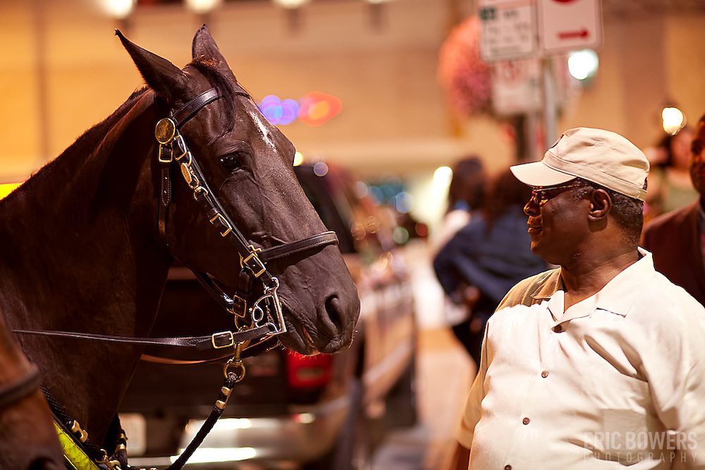 Mayor Sly James and a KCPD Mounted Patrol horse exchange glances