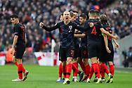 Croatia's Domagoj Vida celebrating after Croatia's Andrek Kramaric scored during the UEFA Nations League match between England and Croatia at Wembley Stadium, London, England on 18 November 2018.