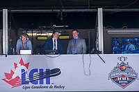 REGINA, SK - MAY 22: Sportsnet broadcasters RJ Broadhead and Sam Cosentino stand in the media booth at the Brandt Centre on May 22, 2018 in Regina, Canada. (Photo by Marissa Baecker/CHL Images)