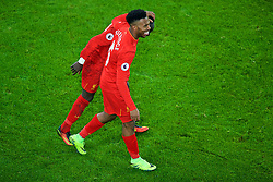 LIVERPOOL, ENGLAND - Monday, December 19, 2016: Liverpool's Sadio Mane celebrates scoring a late injury-time winning goal against Everton, to seal a 1-0 victory, with team-mate Daniel Sturridge during the FA Premier League match against Liverpool, the 227th Merseyside Derby, at Goodison Park. (Pic by Gavin Trafford/Propaganda)