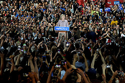Democratic presidential candidate Hillary Clinton speaks on stage after winning the highly contested New York primary on April 19, 2016 in New York City, NY, USA. Clinton, who had enjoyed a large lead over her rival Bernie Sanders only months ago, saw that lead shrink as the Sanders campaign made inroads with younger and more liberal voters. Photo by Dennis Van Tine/ABACAPRESS.COM