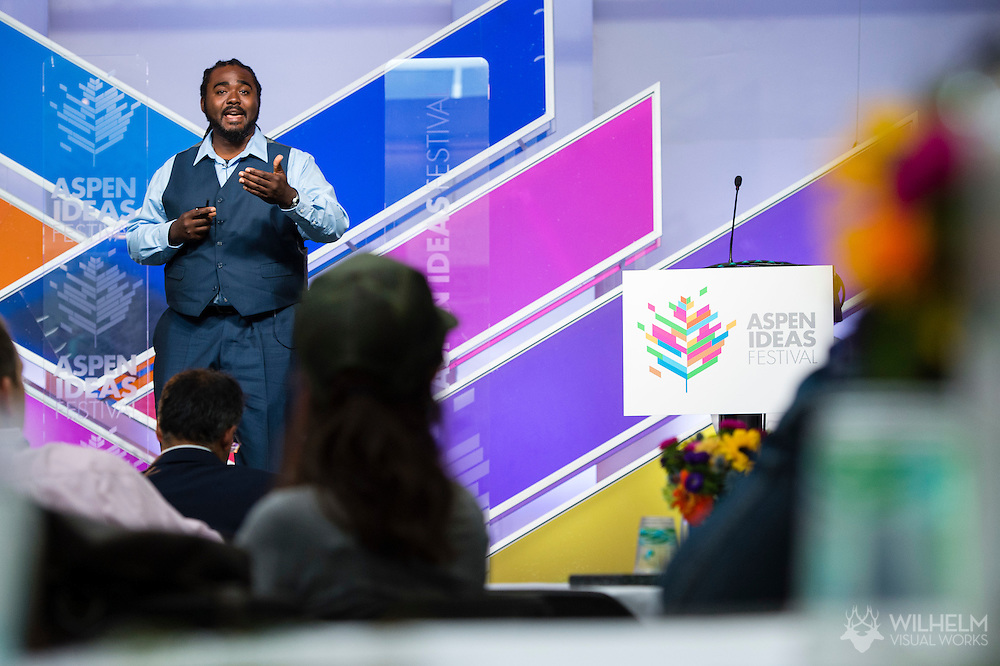 Eric Motley of the Aspen Institute emcees the Aspen Award: Ideas Festival 2 Pitch Event at the 2015 Aspen Ideas Festival in Aspen, CO. ©Brett Wilhelm