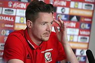Wayne Hennessey of Wales speaks to the media at the Wales football player media session at the Vale Resort Hotel in Hensol , South Wales on Wednesday 22nd March 2017. the team are preparing for their FIFA World Cup qualifier away to Republic of Ireland on Friday. pic by Andrew Orchard, Andrew Orchard sports photography