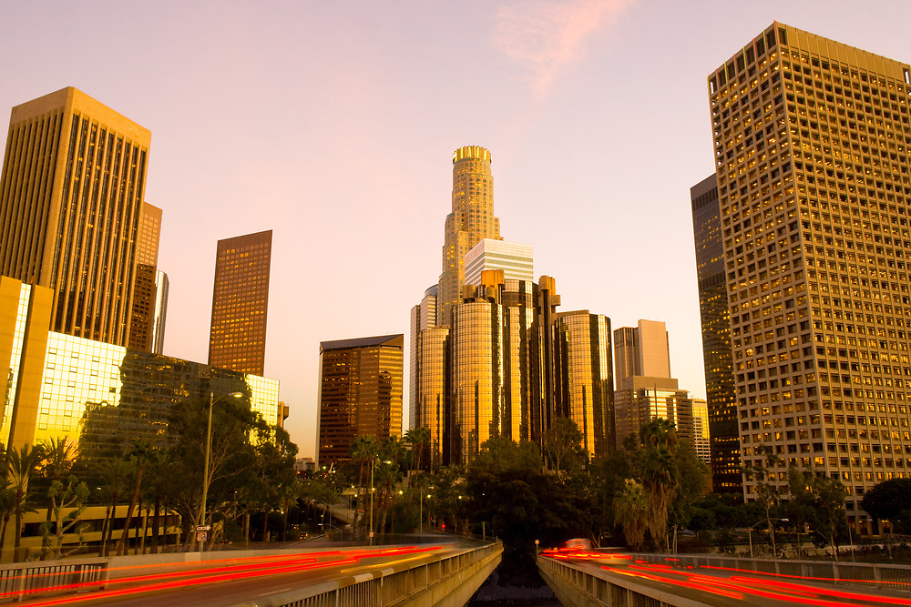 Skyline of skyscrapers at downtown financial district, Los Angeles, California, United States