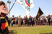 Belgian Crown Prince Filip and Dutch Queen Beatrix attend the 100 years' jubilee of the Old Limburgs Citizens Soldiers in Stramproy, in southern Netherlands near the Belgian border.<br /> <br /> Hare Majesteit de Koningin en Zijne Koninklijke Hoogheid Prins Filip van België bezoeken het 100-jarig jubileum van  het Oud Limburgs Schuttersfeest in Stramproy. Honderd jaar geleden vond voor het eerst een schuttersevenement plaats onder de naam Oud Limburgs Schuttersfeest. Het is een jaarlijks evenement waaraan ruim 160 schutterijen uit zowel Nederlands als Belgisch Limburg deelnemen. <br /> <br /> On the photo / Op de foto: <br /> <br />  Belgian Crown Prince Filip and Dutch Queen Beatrix arriving