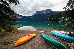 Canoes, Emerald Lake, Yoho National Park, British Columbia, Canada