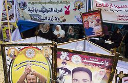 April 27, 2017 - Gaza City, The Gaza Strip, Palestine - Gaza Strip, Palestine - Palestinian demonstrators holding signs during a solidarity demonstration with Palestinian prisoners in a hunger strike in Israeli jails in Gaza City On 27 April 2017, Palestinians began a long hunger strike in a tent in solidarity with Palestinian prisoners in prisons In Gaza on April 27, 2017. About 1,500 Palestinian prisoners joined a hunger strike that began earlier this week. (Credit Image: © Mahmoud Issa/Quds Net News via ZUMA Wire)