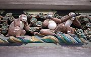 Japan, Tochigi, Nikko, Tosho-gu shrine Three wise monkey