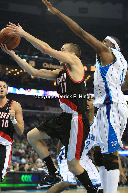 02 February 2009: Portland Trailblazers guard Sergio Rodriguez (11) drives past New Orleans Hornets forward James Posey (41) during a 97-89 loss by the New Orleans Hornets to the Portland Trail Blazers at the New Orleans Arena in New Orleans, LA.