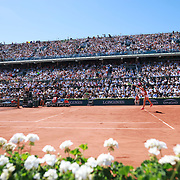2017 French Open Tennis Tournament - Day Fourteen.  Jelena Ostapenko of Latvia in action against Simona Halep of Romania in the Women's Singles Final match on Philippe-Chatrier Court at the 2017 French Open Tennis Tournament at Roland Garros on June 10th, 2017 in Paris, France.  (Photo by Tim Clayton/Corbis via Getty Images)