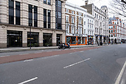 Scene of empty deserted streets at High Holborn as the national coronavirus lockdown three continues on 5th March 2021 in London, United Kingdom. With the roadmap for coming out of the lockdown has been laid out, this nationwide lockdown continues to advise all citizens to follow the message to stay at home, protect the NHS and save lives, and the streets of the capital are quiet and empty of normal numbers of people.