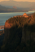 Vista House at Crown Point in the Columbia  Gorge at sunset, Oregon.