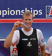 Munich, GERMANY, 01.09.2007,   A Final, Men's Single Sculls Awards Dock,, left Silver Medallist, CZE M1X, Ondre SYNEK, Middle  Gold Medallist NZL M1X, Mahe DRYSDALE and Bronze Medallist  Olaf TUFTE,  at the 2007 World Rowing Championships, taking place on the  Munich Olympic Regatta Course, Bavaria. [Mandatory Credit. Peter Spurrier/Intersport Images]. , Rowing Course, Olympic Regatta Rowing Course, Munich, GERMANY
