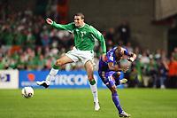 Fotball<br /> VM-kvalifisering<br /> Irland v Frankrike<br /> 07.09.2005<br /> Foto: Dppi/Digitalsport<br /> NORWAY ONLY<br /> <br /> JOHN O'SHEA (IRE) / SYLVAIN WILTORD (FRA)