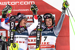 February 8, 2019 - Re, SWEDEN - 190208 Wendy Holdener of Switzerland and Ragnhild Mowinckel of Norway celebrates on the podium after the  women's alpine combination during the FIS Alpine World Ski Championships on February 8, 2019 in re..Photo: Joel Marklund / BILDBYRN / kod JM / 87851 (Credit Image: © Joel Marklund/Bildbyran via ZUMA Press)