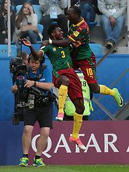 June 22, 2017 - Saint Petersburg, Russia - Andre-Frank Zambo Anguissa, Vincent Aboubakar of the Cameroon national football team celebrates after scoring a goal during the 2017 FIFA Confederations Cup match, first stage - Group B between Cameroon and Australia at Saint Petersburg Stadium on June 22, 2017 in St. Petersburg, Russia. (Credit Image: © Igor Russak/NurPhoto via ZUMA Press)