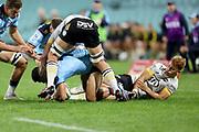 Ruben Love tries to tackle Charlie Gamble. Waratahs v Hurricanes. 2021 Super Rugby Trans Tasman Round 1 Match. Played at Sydney Cricket Ground on Friday 14 May 2021. Photo Clay Cross / photosport.nz
