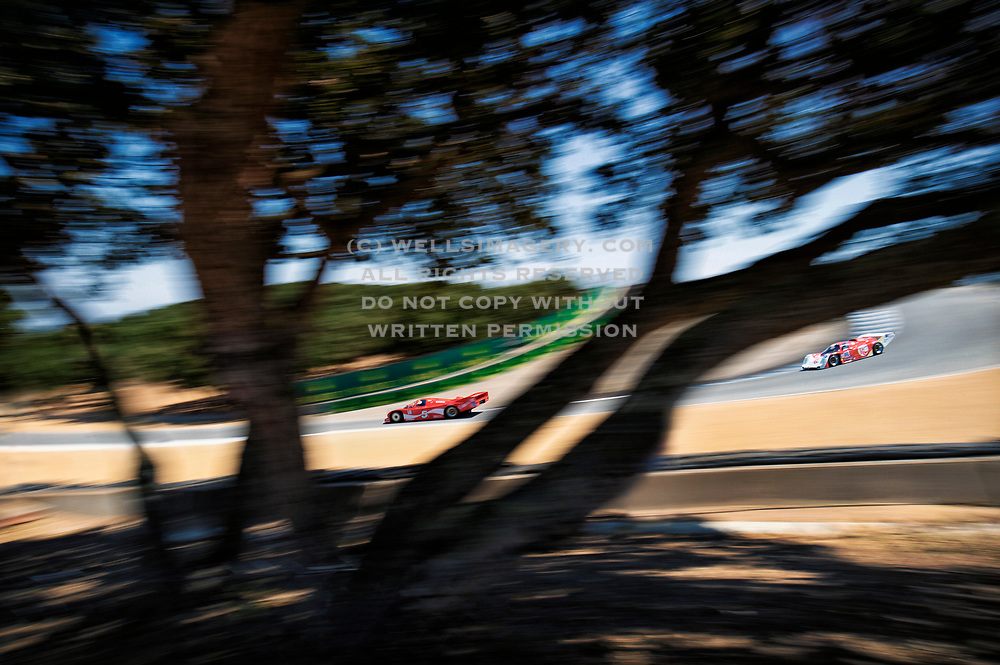 amazing-car-photo-decor-online-by-randy-wells-wells-imagery, Image of Bob Akins's red Porsche 962C leading the pack at the Corkscrew at Mazda Raceway Laguna Seca during the Rolex Monterey Motorsports Reunion, Monterey, California, America west coast