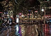 Leidesplein at night after a rain shower.