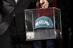 The Philadelphia Eagles New ERA hat arrives before the first round of the NFL Draft on April 26th 2012 at Radio City Music Hall in New York, New York. (AP Photo/Brian Garfinkel)