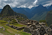 Panoramic view of the lost inca city of Machu Picchu, in Cusco, Peru. Now it is one of the new seven wonder of the modern world.