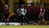 Photo: Jed Wee.<br />Bradford City v Swansea City. Coca Cola League 1. 14/01/2006.<br />Swansea players and goalkeeper Willy Gueret (C) show their disappointment after conceding the equaliser.
