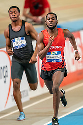 Keitharo Oosterwolde in action on the 200 meter during AA Drink Dutch Athletics Championship Indoor on 21 February 2021 in Apeldoorn.
