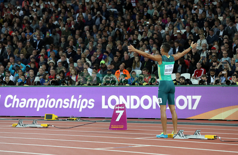 South Africa's Wayde Van Niekerk lines up for the Men's 400m final next to the empty blocks of Botswana's Isaac Makwala during day five of the 2017 IAAF World Championships at the London Stadium.