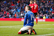 Ryan Kent looking dismayed the he didnt receive a foul during the Ladbrokes Scottish Premiership match between Rangers and Kilmarnock at Ibrox, Glasgow, Scotland on 16 March 2019.