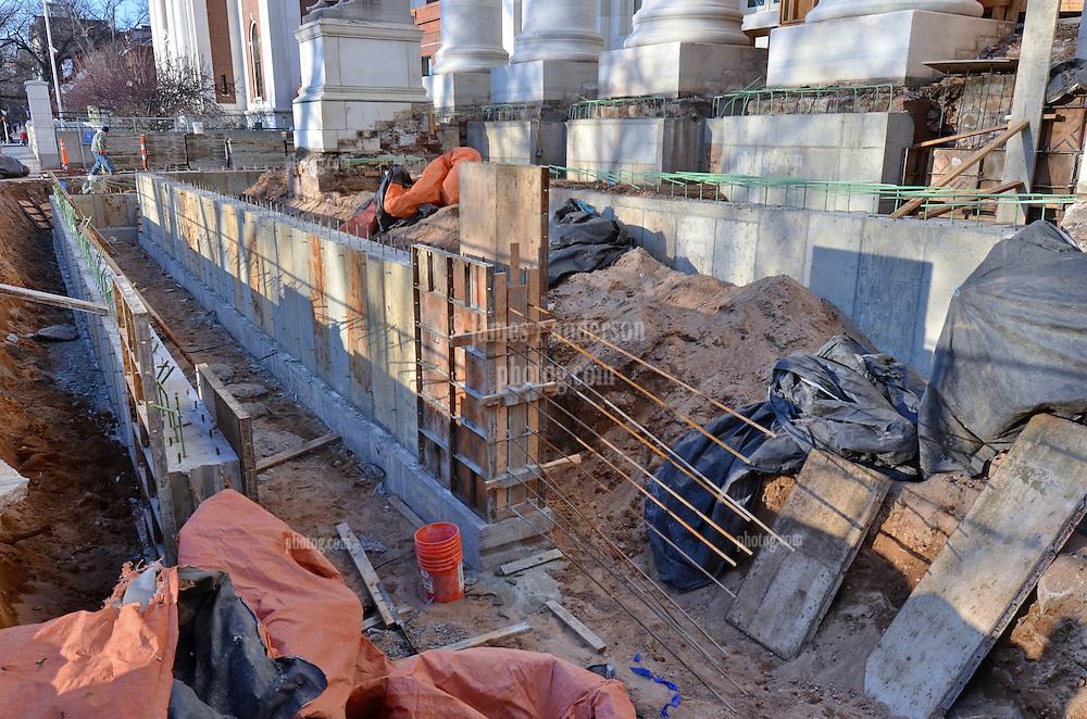 New Haven Courthouse GA 23 Phase 1. Project No: BI-JD-299<br /> Architect: JCJ Architecture  Contractor: Kronenberger Restoration<br /> James R Anderson Photography New Haven CT photog.com<br /> Date of Photograph: 26 December 2013<br /> Camera View: West-northwest, South Elevation Steps, East Corner  No.: 12