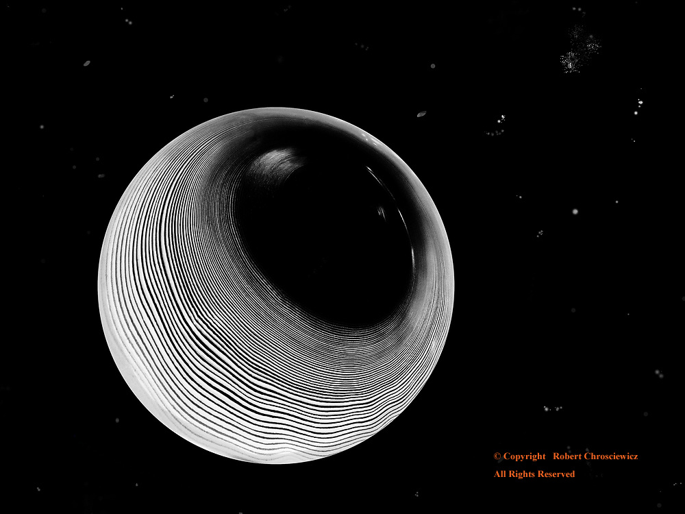 Perspective (B&W): A surrealistic circular point of view on a celestial theme, Vancouver British Columbia Canada.