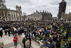 © Licensed to London News Pictures. 03/04/2021. London, UK. Protesters gather Parliament Square in central London during a 'Kill the Bill' demonstration and rally. A coalition of groups including Extinction Rebellion, Kill the Bill & Black Lives Matter are coming together over the Easter weekend to campaign against the proposed Police, Crime, Sentencing and Courts Bill which will give police in England and Wales more power to impose conditions on non-violent protests. Photo credit: Peter Macdiarmid/LNP