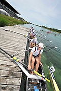 Munich, GERMANY, Women's Eights finalist. GBR W8+ silver medalist. FISA world Cup Rd 1. Munich Olympic Rowing Course,  Sunday  29/05/2011  [Mandatory Credit Peter Spurrier/ Intersport Images]..Crew Crew: Bow, Jo COOK, Alison KNOWLES, Jessica EDDIE. Emily TAYLOR, Natasha PAGE, Louisa REEVE, Katie SOLESBURY, Lindsey MAQUIRE and Cox Caroline O'CONNER.