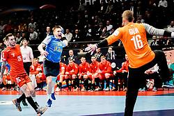 14.01.2020, Wiener Stadthalle, Wien, AUT, EHF Euro 2020, Tschechien vs Ukraine, Gruppe B, im Bild v. l. Artem Kozakevych (UKR), Martin Galia (CZE) // f. l. Artem Kozakevych (UKR) Martin Galia (CZE) during the EHF 2020 European Handball Championship, group B match between Czech Republic and Ukraine at the Wiener Stadthalle in Wien, Austria on 2020/01/14. EXPA Pictures © 2020, PhotoCredit: EXPA/ Florian Schroetter